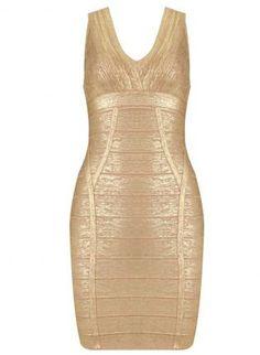 Gold Sexy Dress - Bqueen Gold Sexy Deep V $99