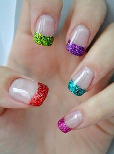 Multi color french manicure <3