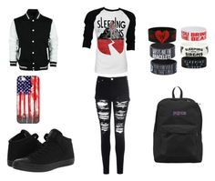 """sws concert #2"" by lauren-pearson444 ❤ liked on Polyvore featuring Casetify, Converse, Glamorous and JanSport"