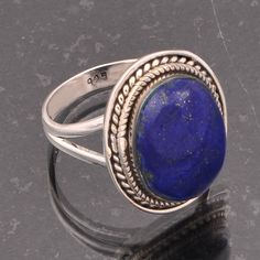 925 STERLING SILVER LAPIS STONE EXCLUSIVE RING 7.35g DJR5379 #Handmade #Ring