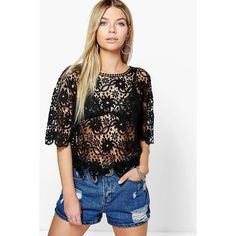 Boohoo Gemma Crochet Boxy Short Sleeve Tee ($26) ❤ liked on Polyvore featuring tops, t-shirts, black, ribbed tee, crochet crop top, long sleeve layering tee, basic long sleeve tee and long sleeve t shirt