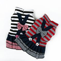 Stripes Fleece Pet Dress Skirts Outfit Puppy Dog Bowknot Flower Clothes Apparel Free&Drop Shipping
