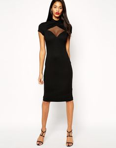 ASOS Twisted Poloneck Plunge Dress