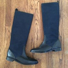 """J.Crew Cadence Equestrian leather boots navy 14.25"""" at top of calf; 15"""" high; 1"""" heel. Genuine leather lining and uppers covered with baby canvas. MADE IN ITALY AND WORN ONLY ONCE!!!! J. Crew Shoes Winter & Rain Boots"""