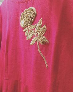 The golden rose stem! The golden rose stem! Wedding Embroidery, Hand Work Embroidery, Wool Embroidery, Embroidery Motifs, Indian Embroidery, Machine Embroidery, Embroidery Designs, Khadi, Embellished Crop Top