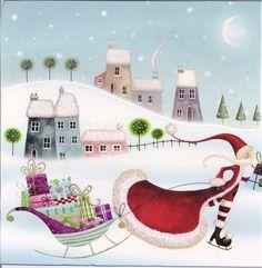 Nicola Rabbett - Santa With Ice Skates (cv). Whimsical Christmas, Merry Little Christmas, Father Christmas, Christmas Art, All Things Christmas, Winter Christmas, Vintage Christmas, Christmas Clipart, Christmas Printables