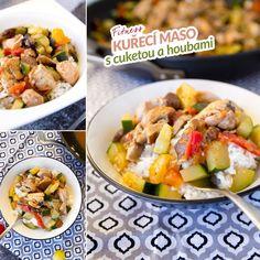 Fit kuřecí maso cuketa, houby, cherry rajčata - recept Bajola Pasta Salad, Meat, Chicken, Ethnic Recipes, Fitness, Food, Crab Pasta Salad, Meals, Excercise