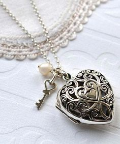 Love this Pearl & Sterling Silver Vintage Heart Locket Necklace by Martha Jackson on Locket Bracelet, Heart Locket Necklace, Diamond Cross Necklaces, Locket Charms, Silver Necklaces, Jewelry Necklaces, Pendant Necklace, Silver Lockets, Gold Locket