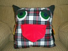 2013-12-25 11.11.35 | Flickr - Photo Sharing! Upcycled Owl/bird pillow I made for my dad or Christmas!