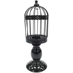 Tall Black Cage Candle Holder ❤ liked on Polyvore featuring home, home decor, candles & candleholders, black home accessories, black candlestick holders, black candle holders and black home decor