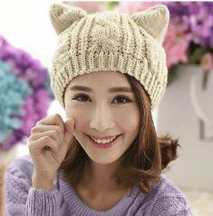 2017 Fashion Hats Women Devil Horns Cat Ear Crochet Braided Knit Ski Beanie  Wool Caps Winter Warm Hat for Girl Gorros Bonnet 9b0a2574b24a