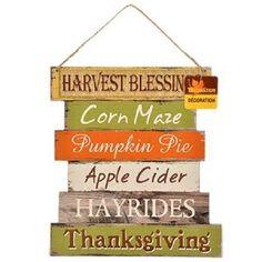 Fall Home Decor Autumn Thanksgiving Sign Harvest Blessing Halloween Decoration #ThanksgivingHolidayWoodSign