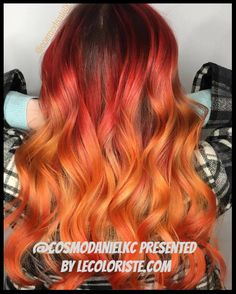 43 Most Gorgeous And Eye-catching 🌅 Sunset Hair Colour Long Hair And Short Hair For Prom And Wedding 😻 - Hairstyle 14 💕𝕴𝖋 𝖀 𝕷𝖎𝖐𝖊, 𝕵𝖚𝖘𝖙 𝕱𝖔𝖑𝖑𝖔𝖜 𝖀𝖘! Ombré Hair, Prom Hair, Fire Hair Color, Flame Hair, Sunset Hair, Hair Dye Colors, Hair Colour, My Hairstyle, Wedding Hairstyle