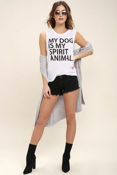"Show some appreciation for your fave pooch with the Chaser Spirit Animal White Muscle Tee! Soft and stretchy knit shapes this cool muscle tee with bold black text that reads: ""My dog is my spirit animal."""