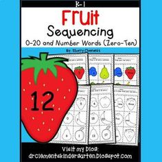 50% off for 24 hrs~(until 11:59 PM EST 03/13/17) Fruit Sequencing Numbers (0-20) and Number Words (zero-ten) This pack includes a black and white set and a colored set of sequencing numbers.(black and white set)This 4 page pack was created with differentiation for students in mind.