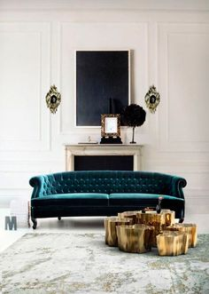 Room Decor Ideas: a living room design by Boca do Lobo. The room is full of light and tha gold wall lamps and side table and the green velvet sofa. My Living Room, Home And Living, Living Room Furniture, Living Room Decor, Living Spaces, Modern Living, Garage Furniture, Dog Spaces, Bedroom Decor
