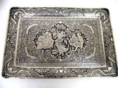 Large Persian Silver Tray with Beautiful Engraving and a handwritten poem