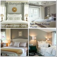 Top 4 Benjamin Moore Bedroom Paint Colors---I LOVE Antique Pewter for the Office---forget the bedroom! I love Sparrow for our bedroom