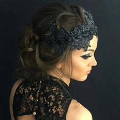 This black gothic couture crown is made of black lace. This version is adorned with gorgeous black rhinestone. This would surely complement any