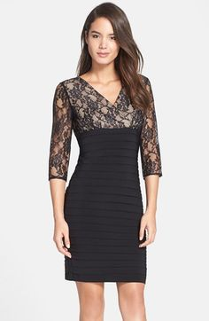 Adrianna+Papell+Lace+Bodice+Banded+Sheath+Dress+(Regular+&+Petite)+available+at+#Nordstrom