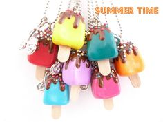 Summer necklace - Popsicle Necklace Polymer Clay fake Popsicle and scooter Charm girls birthday favors party PICK YOUR COLOR. $15.99, via Etsy.