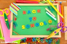 Poster of Small chalkboard with school supplies, Back To School, #poster, #printmeposter, #mousepad, #tshirt