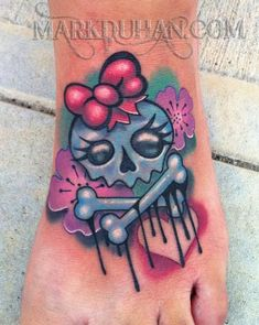 cute rockabilly foot tattoo, but u know that shit hurts n the color will come out