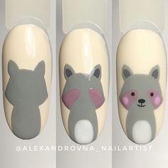 Animal Nail Art Acrylic Nails How Thick Cartoon Nail Designs, Animal Nail Designs, Easter Nail Designs, Animal Nail Art, Diy Nail Designs, Nail Drawing, Pretty Toe Nails, Nail Polish Crafts, Kawaii Nails