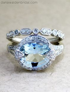 Affordable engagement ring by Dana Walden Bridal in NYC - sky blue aquamarine & conflict free diamonds.