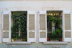 Classic Parisian window shutters in Montmartre
