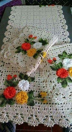 Crochet and embroidery Baby Afghan Crochet Patterns, Crochet Bedspread Pattern, Crochet Flower Patterns, Crochet Flowers, Crochet Table Runner, Crochet Tablecloth, Crochet Doilies, Crochet Home, Crochet Baby