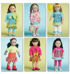 """mccall's 6370... clothes for 18"""" doll such as american girl (sewing pattern to purchase)"""
