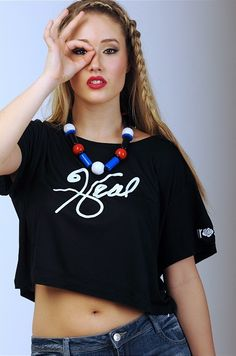 """SS15 """"I Love Me"""" Collection - 'HEAL' Black Cropped Top"""