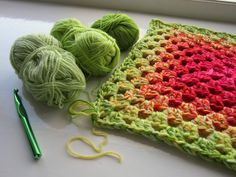 """""""Graduated Granny"""" pattern using multiple strands of different solid colours together to produce different effects   p.s. I crochet..."""
