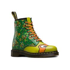 Dr. Martens TMNT Mikey 8 ($128) ❤ liked on Polyvore featuring shoes, boots, light weight shoes, grip shoes, lacy shoes, traction shoes and dr martens footwear