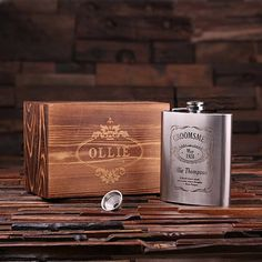 Personalized Stainless Steel Flask – 18 oz. with Wooden Gift Box