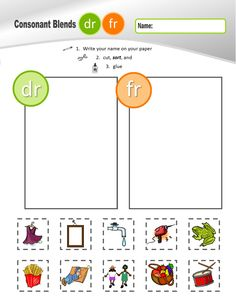 R CONSONANT BLENDS (BR, CR, DR, FR, GR, PR, TR) Sorting Sheets $