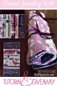 another great gift idea for Christmas: handmade jewelry roll for keeping earrings, necklaces and rings organized when traveling...step-by-step tutorial and a chance to win this one