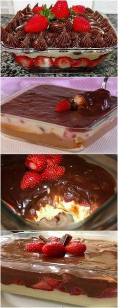 ESSA SOBREMESA NÃO TEM COMO RESISTIR…BOMBOM GELADO NA TRAVESSA ❤️ VEJA AQUI>>>Espere o ganache esfriar para usar. 7. Tire o creme da geladeira e coloque OS MORANGOS por cima. Em seguida espalhe a ganache e decore com raspinhas de chocolate #receita#bolo#torta#doce#sobremesa#aniversario#pudim#mousse#pave#Cheesecake#chocolate#confeitaria Mousse, Food Places, Chocolate Desserts, Cake Designs, Panna Cotta, Deserts, Food And Drink, Pudding, Yummy Food