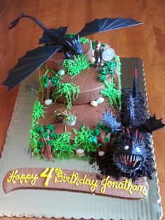 how to train your dragon birthday cake - Bing Images Dragon Birthday Cakes, Dragon Birthday Parties, Harry Birthday, 4th Birthday Cakes, Dragon Cakes, Dragon Party, Boy Birthday, Birthday Ideas, Toothless Party
