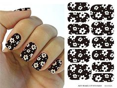 Water Transfer Foil Nail Art Sticker White Flower Design Black Nails Sticker Manicure Decor Styling Tool Finger Nail Wraps Decal *** More info could be found at the image url.