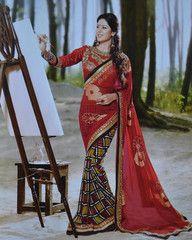 #Red color #Georgette #designer #saree #saari #bridal #new #collection #trendy #ethnic