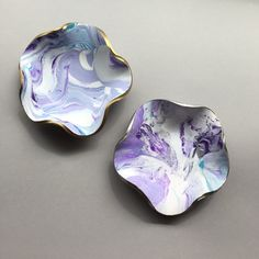 Purple Turquoise Jewelry Dish, Trinket Dish, Earring Container, Swirly Marbled Clay Dish, Ring Bowl, Modern Style, Handmade Gifts for Women