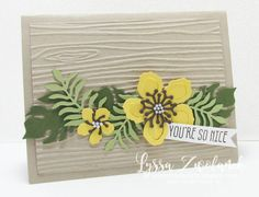 handmade card using Botanical Blosoms die cuts to forma a band over woodgrain texture in sand ... fab card! ... Stampin' Up!