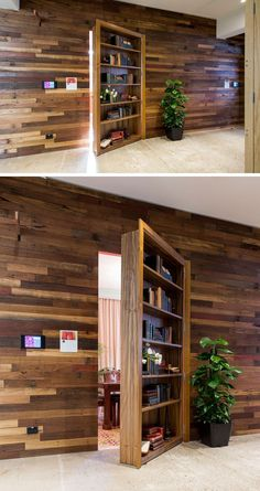 This wooden bookshelf door blends right into the wood paneled wall making it even less likely that you'd expect to find a hidden room behind it.