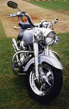 Silver Harley and Chrome Davidson Motorcycle
