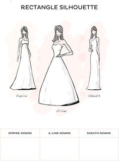 Wedding Dress Style - Rectangle style wedding dresses from David's Bridal - I should wear and Empire, A-Line, or Sheath styled dress.
