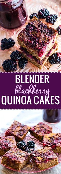 EASY blender blackberry quinoa cakes recipe! These gluten free quinoa cakes are made with simple fresh ingredients. Dairy free, no refined sugar, and delicious! No oil or butter needed. Just blend and bake!