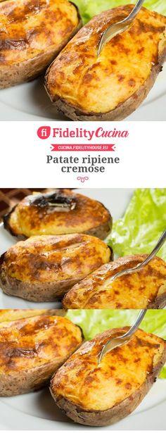 Creamy stuffed potatoes – About Breastfeeding Veggie Recipes, Vegetarian Recipes, Cooking Recipes, I Love Food, Good Food, Yummy Food, Italy Food, Veggie Side Dishes, International Recipes