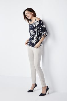 A feminine cold shoulder that is sure to have heads turning! Cute tie sleeve details add an extra element to an already fabulous top! Neutral hues make this number White Jeans, Cold Shoulder, Capri Pants, Feminine, Navy, Prints, Cute, How To Make, Tops